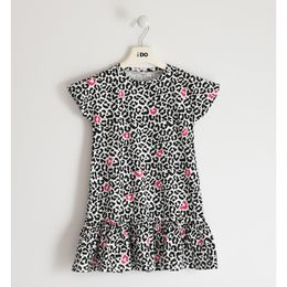 iDO short-sleeved dress in stretch jersey with various patterns