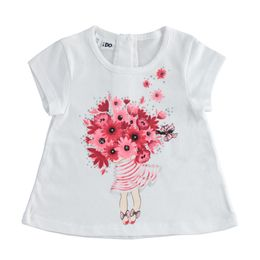Cute 100% cotton T-shirt with girl and flowers