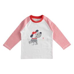 100% cotton crewneck with dog and striped sleeves