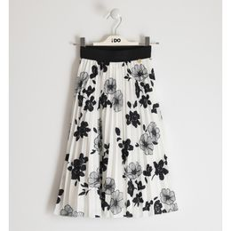 Floral patterned crêpe fabric skirt