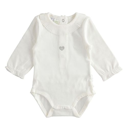Long sleeved bodysuit with pleated collar