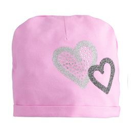 Beanie model cap with hearts and rhinestones