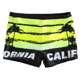 """Boxer swimsuit with shovels and """"California"""" lettering beachwear line"""