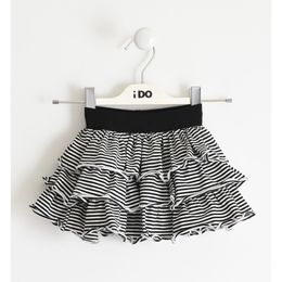 Stretch jersey skirt with striped patterned flounces