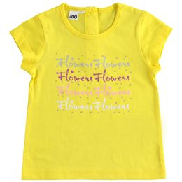 Pretty T-shirt in 100% cotton jersey with print and rhinestones