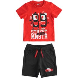 Outfit with 100% cotton T-shirt and short trousers with monsters