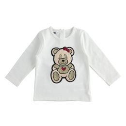 Long-sleeved round-neck T-shirt in stretch cotton with teddy bear