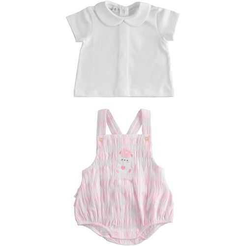 Two-piece T-shirt and onesie outfit in embossed fabric