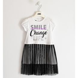 100% cotton jersey dress with glitter and tulle skirt