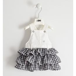 Dungarees with checked skirt
