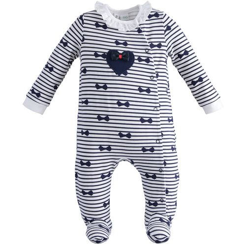One-piece romper with striped patterned feet