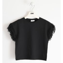 Stretch jersey T-shirt with fringes