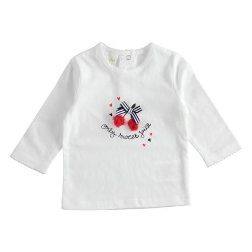 Crewneck T-shirt with tulle cherries