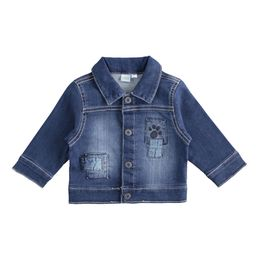 Knitted denim jacket with applications for baby boy