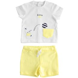 Outfit with T-shirt with bunny and short trousers for baby boy