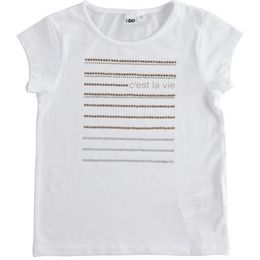 """Jersey T-shirt with rhinestones and """"C'est la vie"""" lettering"""