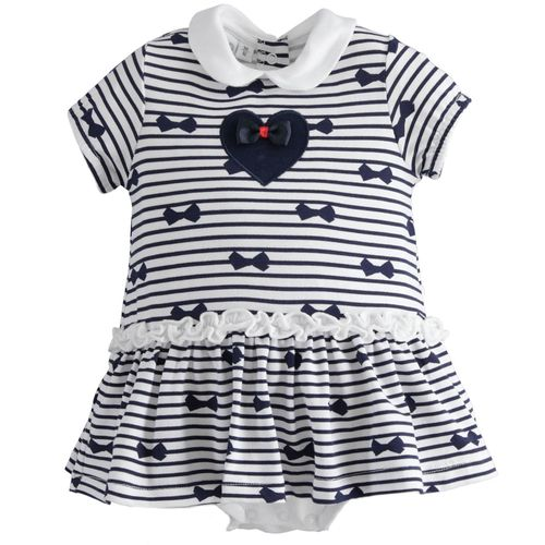 Dress-effect onesie with heart and bow