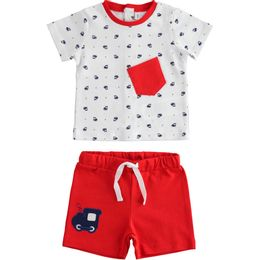 Outfit 100% cotton T-shirt with trains and short trousers