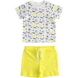 Outfit 100% cotton T-shirt with all over print and short trousers