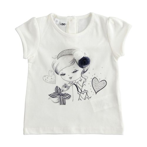 Stretch jersey T-shirt with cute print and striped bow