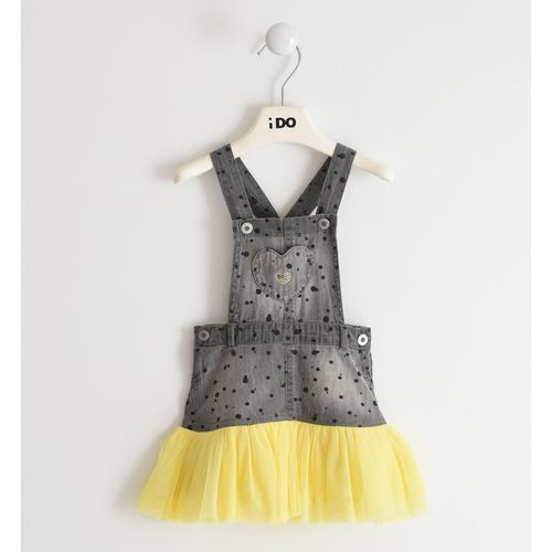 Dungaree dress with tulle skirt