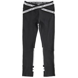 Stretch jersey leggings with woven elastic at the waist