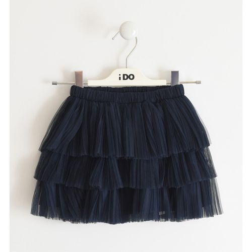 Pleated tulle skirt with satin lining