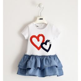 Cute dress in stretch jersey with reversible sequin hearts embroidery
