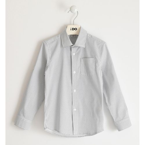 Stretch cotton poplin shirt with pochette and micro pattern