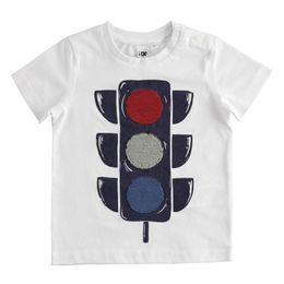 100% cotton T-shirt with reversible sequin traffic light