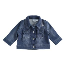 Cotton knit denim jacket with bows