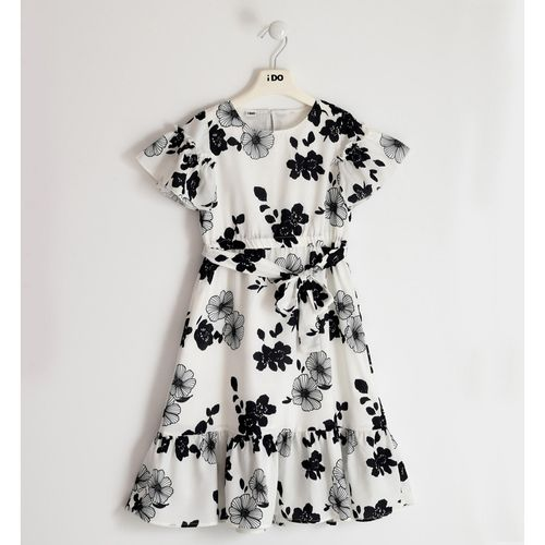 Dress in crêpe fabric with an elegant floral pattern