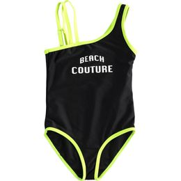 One-piece swimsuit with beachwear line contrasting colour finishes