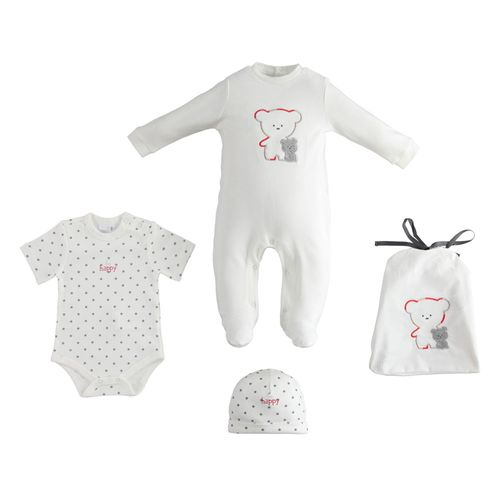 Cute, unisex baby kit with jumpsuit, beanie, bodysuit and handy little bag