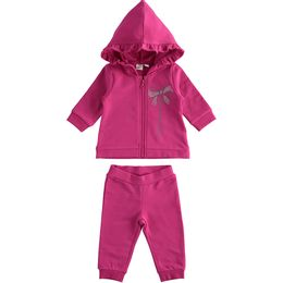Two-piece cotton fleece girl's jogging suit with hood and frills